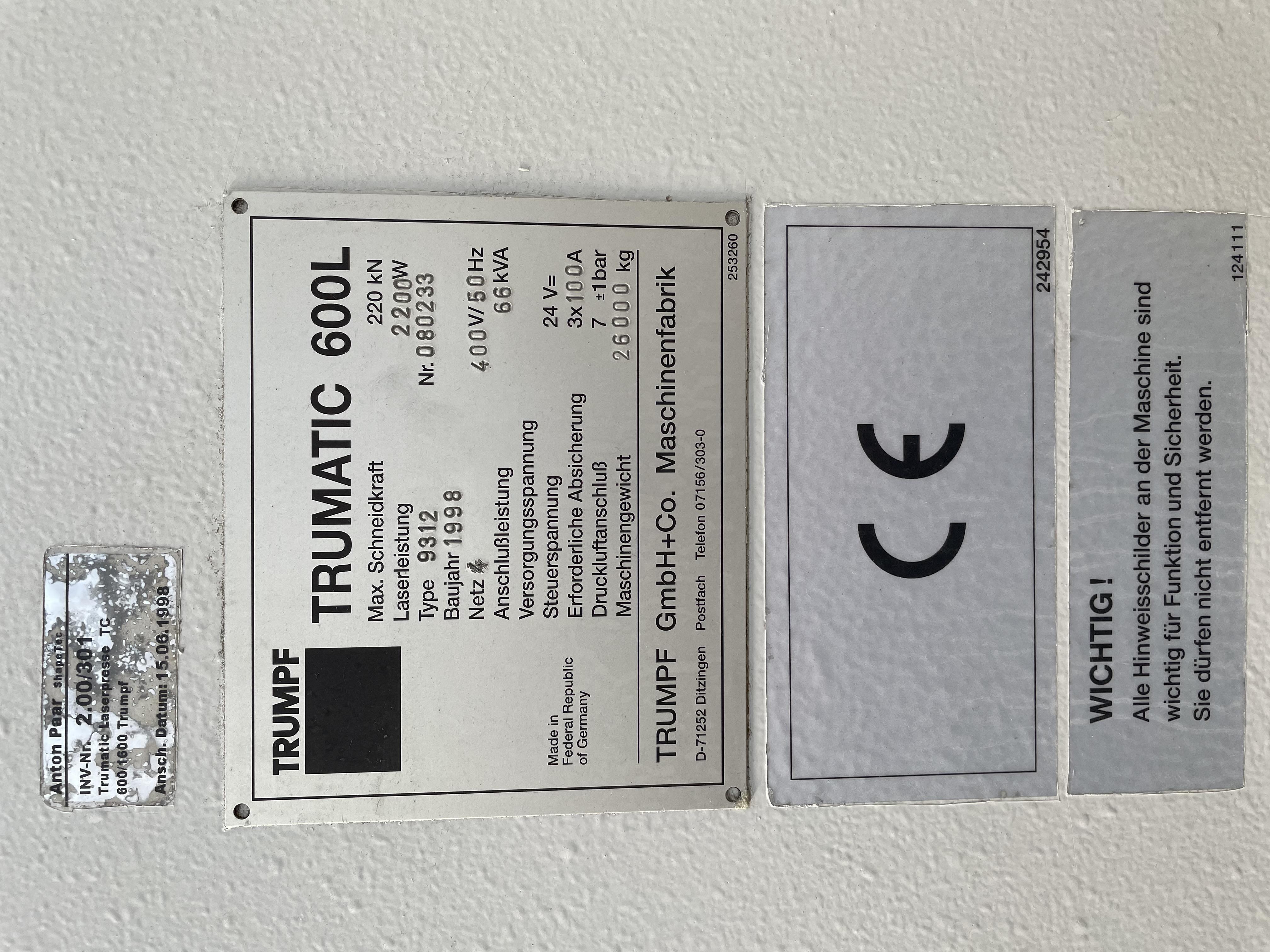 Vendesi Trumpf 600L con sheetmaster (solo punzonatrice) in vendita - foto 2
