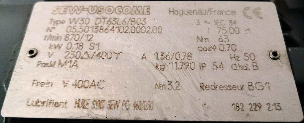 MOTORIDUTTORE – SEW-USOCOME  (COD. RIC-MOT-39) in vendita - foto 4