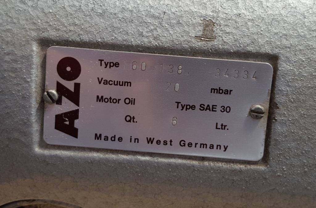 POMPA DA VUOTO – AZO – MOD. 160-138 (COD. MF-PR-POM-43) in vendita - foto 8