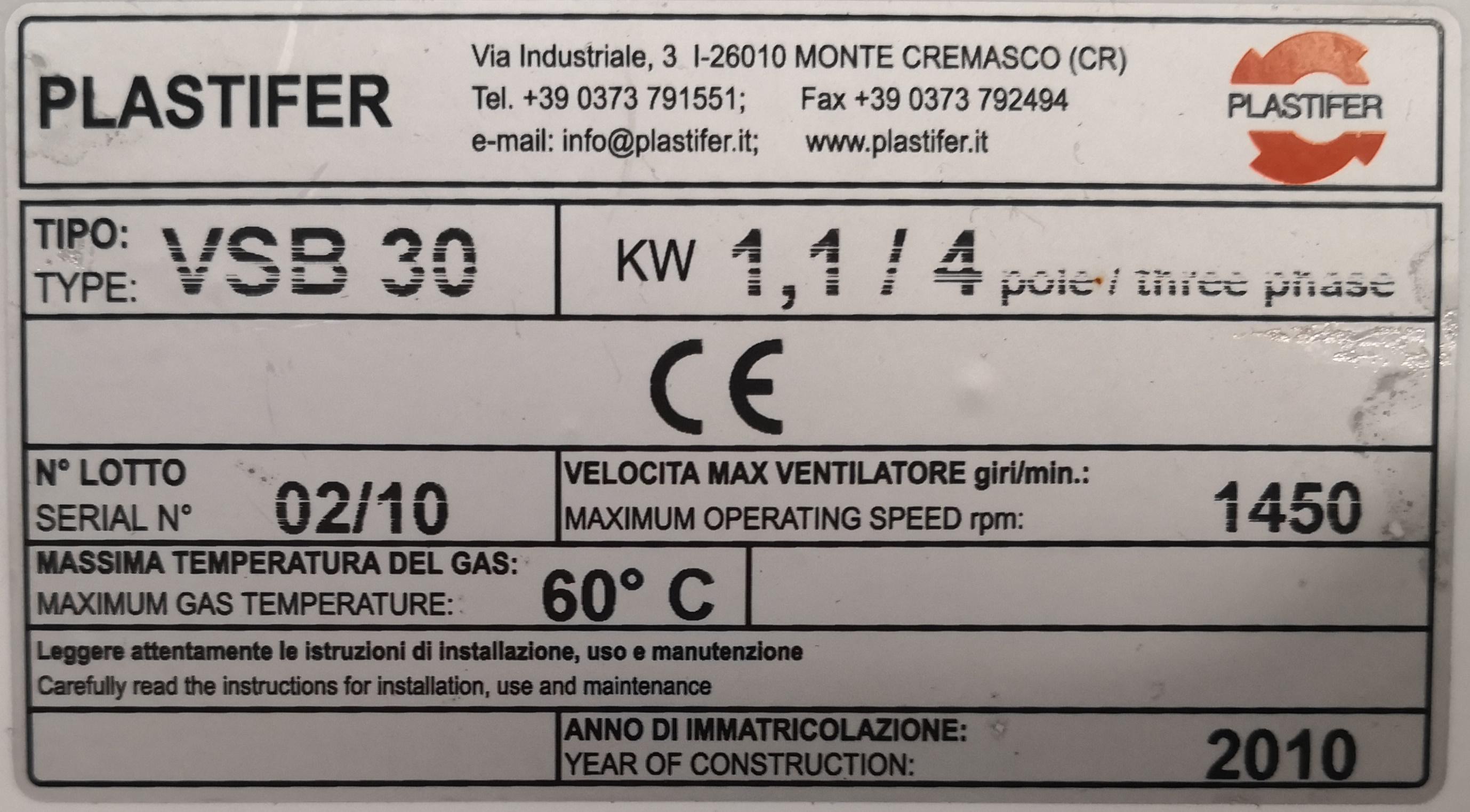 VENTILATORE CENTRIFUGO – PLASTIFER (COD. MF-PR-VEN-6) in vendita - foto 8