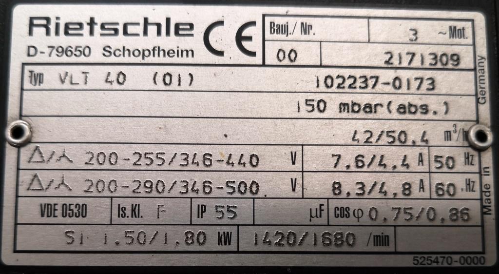 POMPA DA VUOTO – RIETSCH (COD. MF-PR-POM-121) in vendita - foto 6