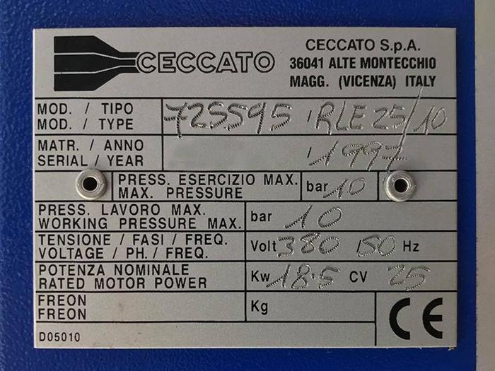COMPRESSORE A VITE USATO CECCATO RLE 25_10 in vendita - foto 5