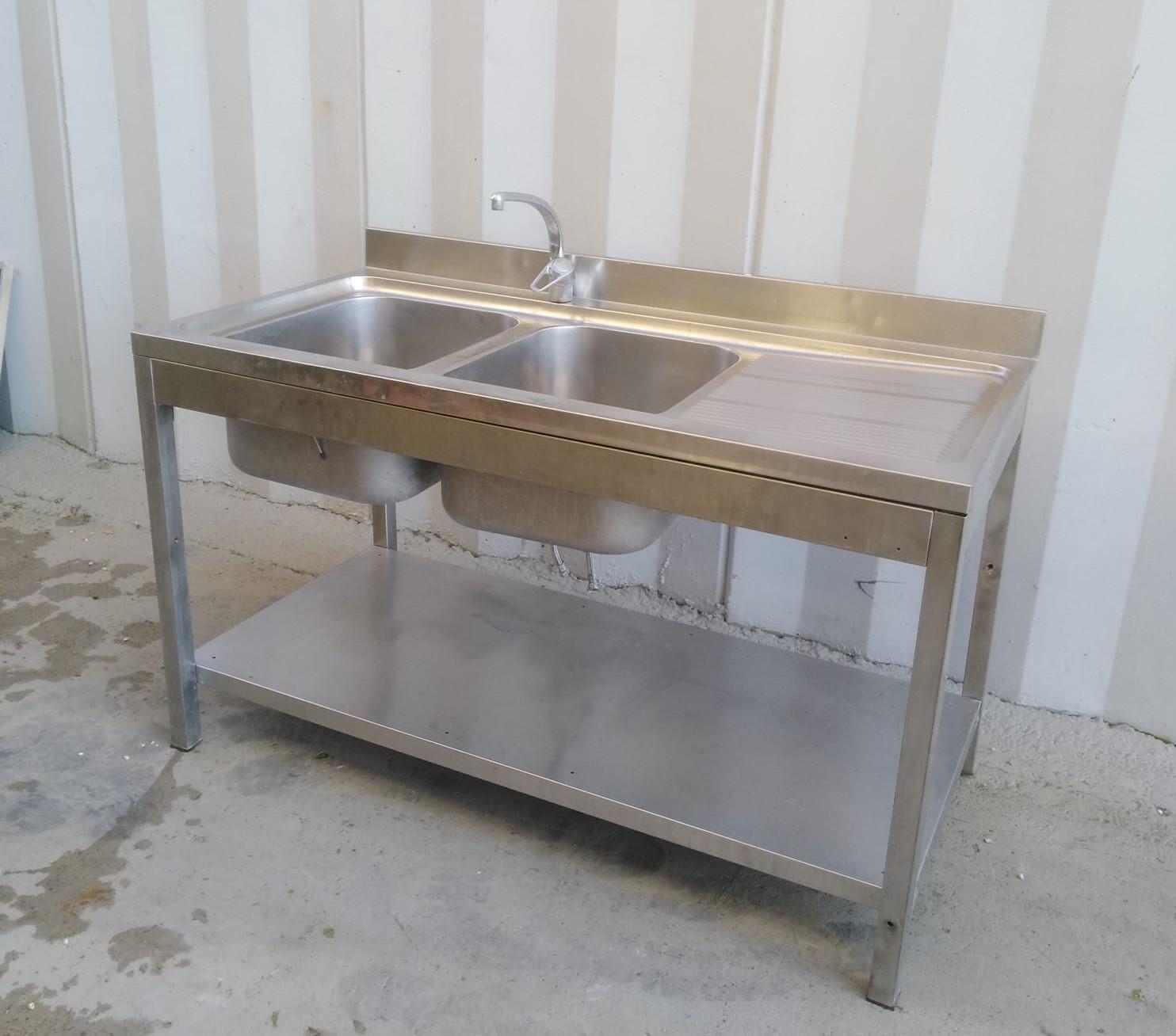 Lavello doppia vasca e gocciolatoio con alzatina in vendita - foto 2