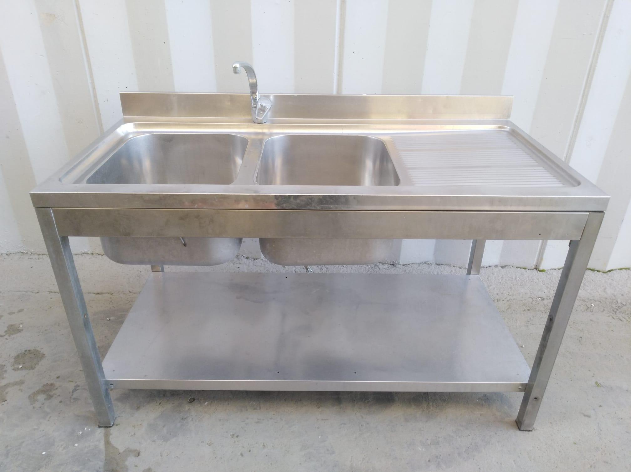 Lavello doppia vasca e gocciolatoio con alzatina in vendita - foto 1