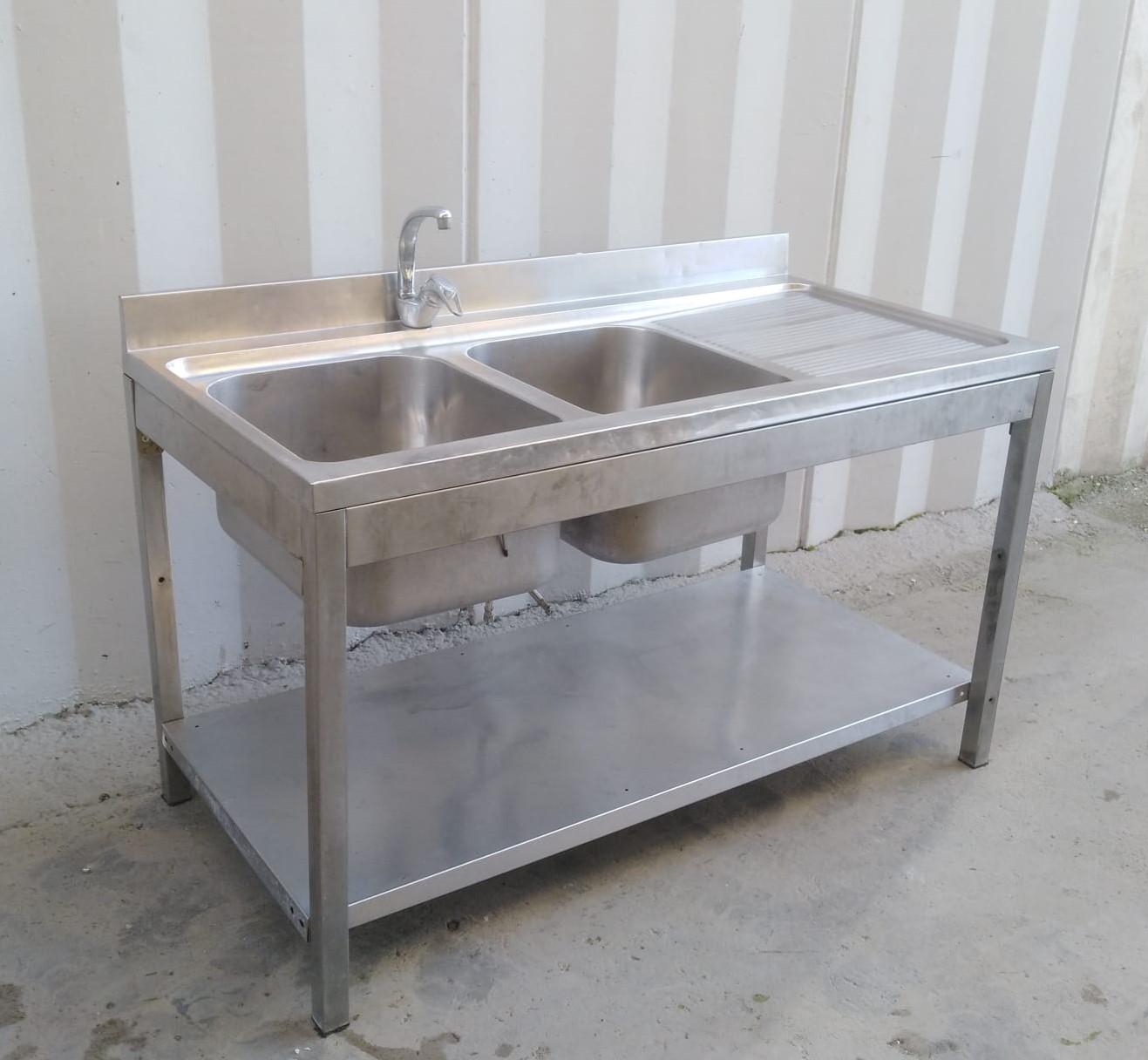 Lavello doppia vasca e gocciolatoio con alzatina in vendita - foto 3