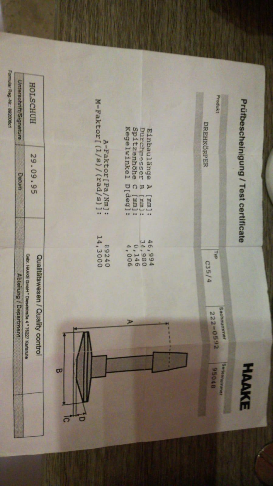 Reometro Haake rotovisco 1  in vendita - foto 2