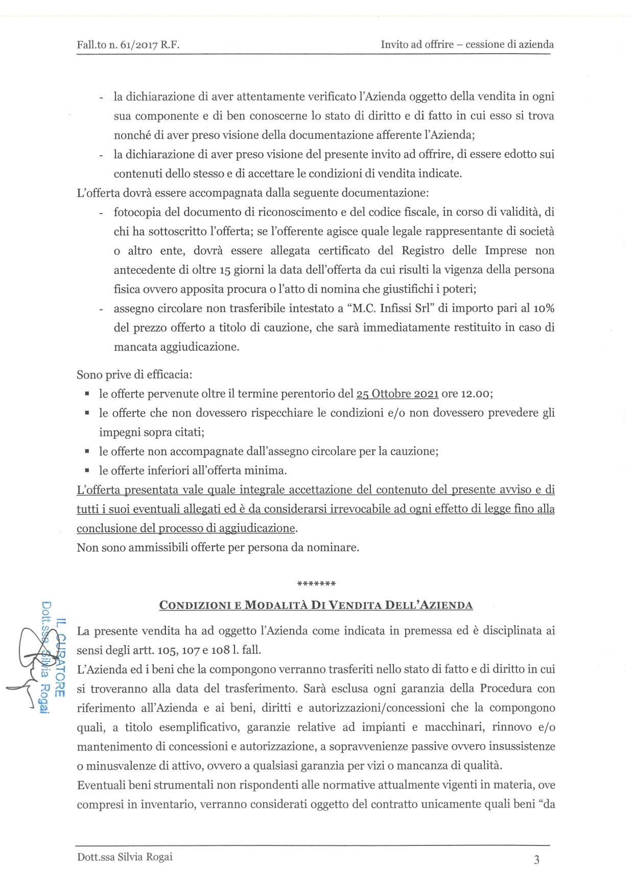 Fall. 61/2017 Trib. di Prato - Cessione azienda operat in vendita - foto 3