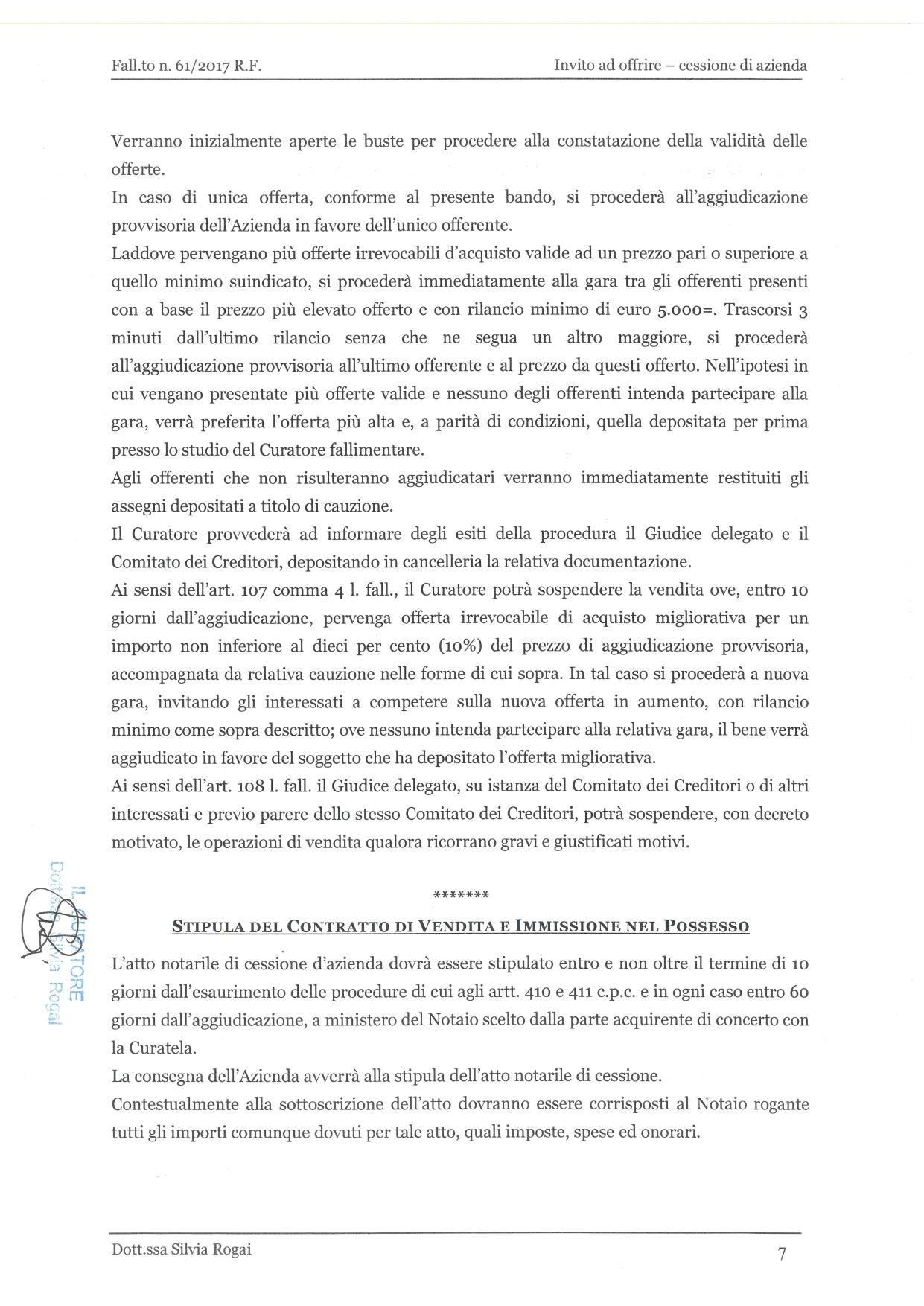 Fall. 61/2017 Trib. di Prato - Cessione azienda operat in vendita - foto 7