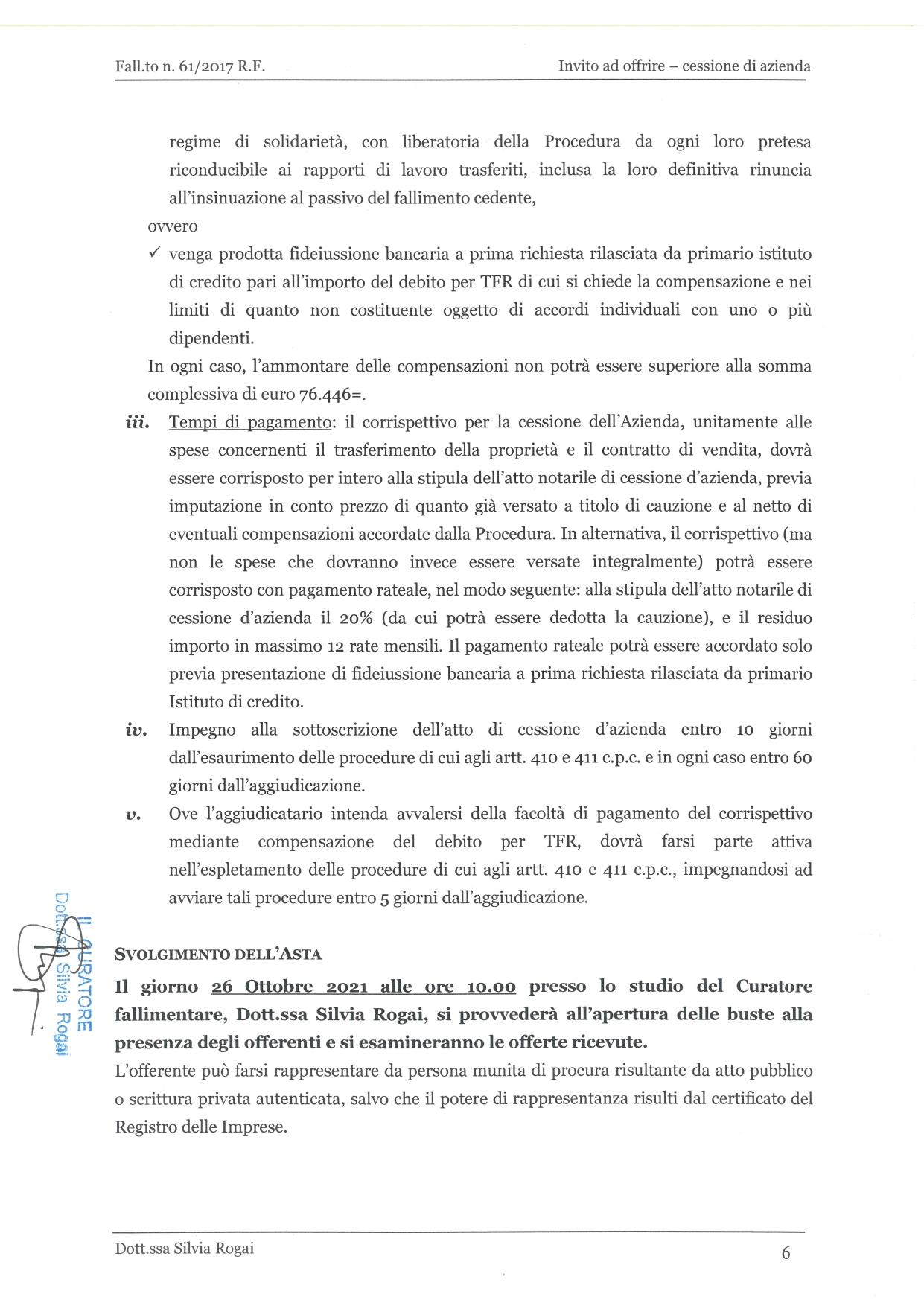 Fall. 61/2017 Trib. di Prato - Cessione azienda operat in vendita - foto 6