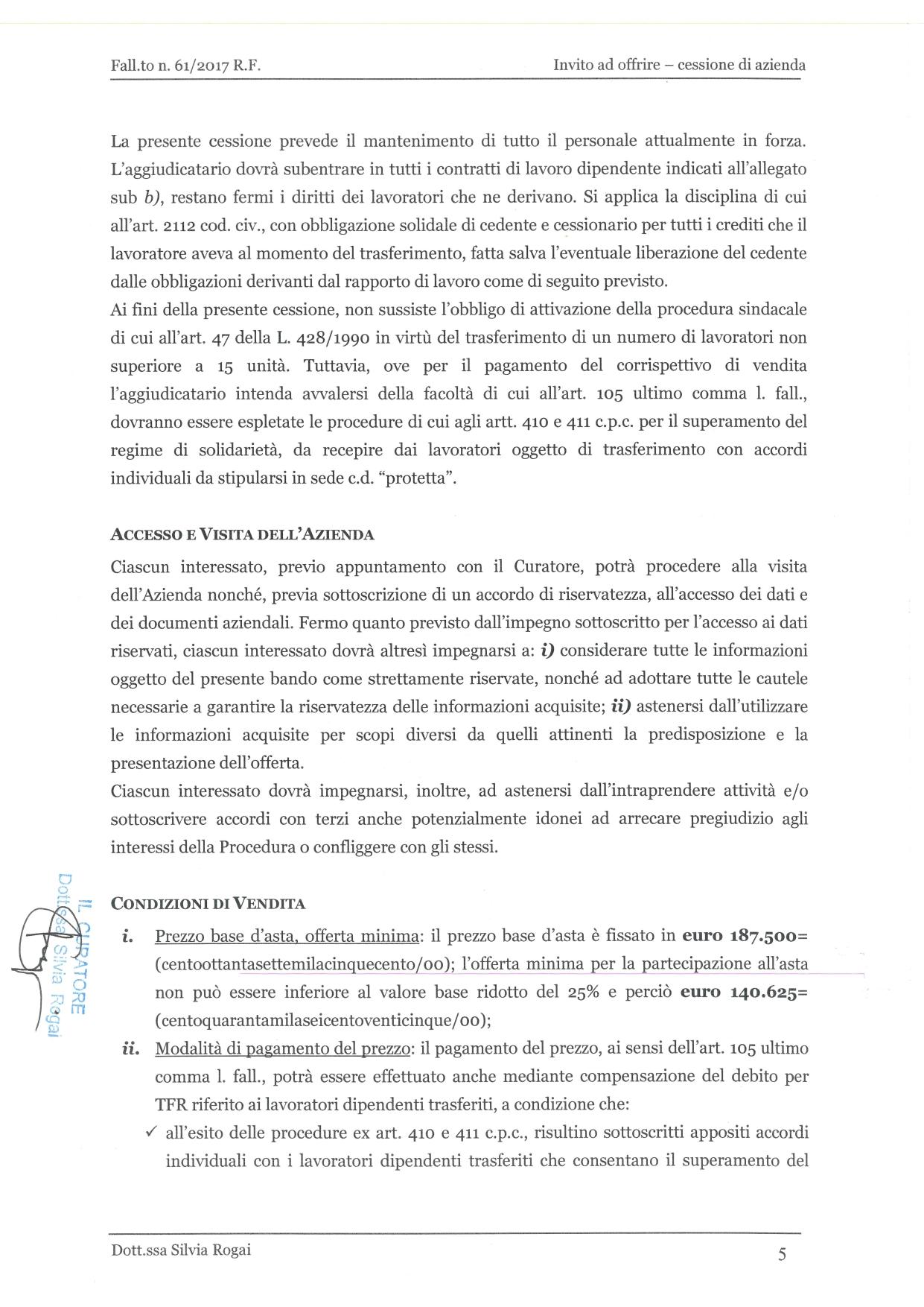 Fall. 61/2017 Trib. di Prato - Cessione azienda operat in vendita - foto 5