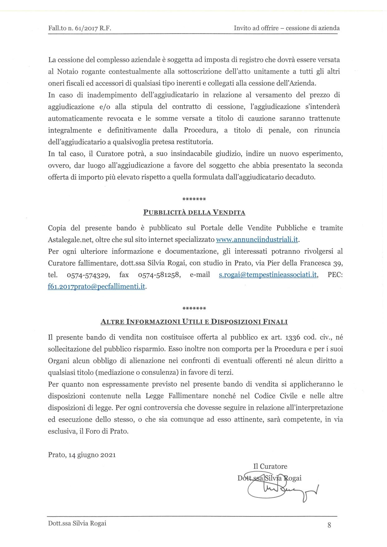 Fall. 61/2017 Trib. di Prato - Cessione azienda operat in vendita - foto 8