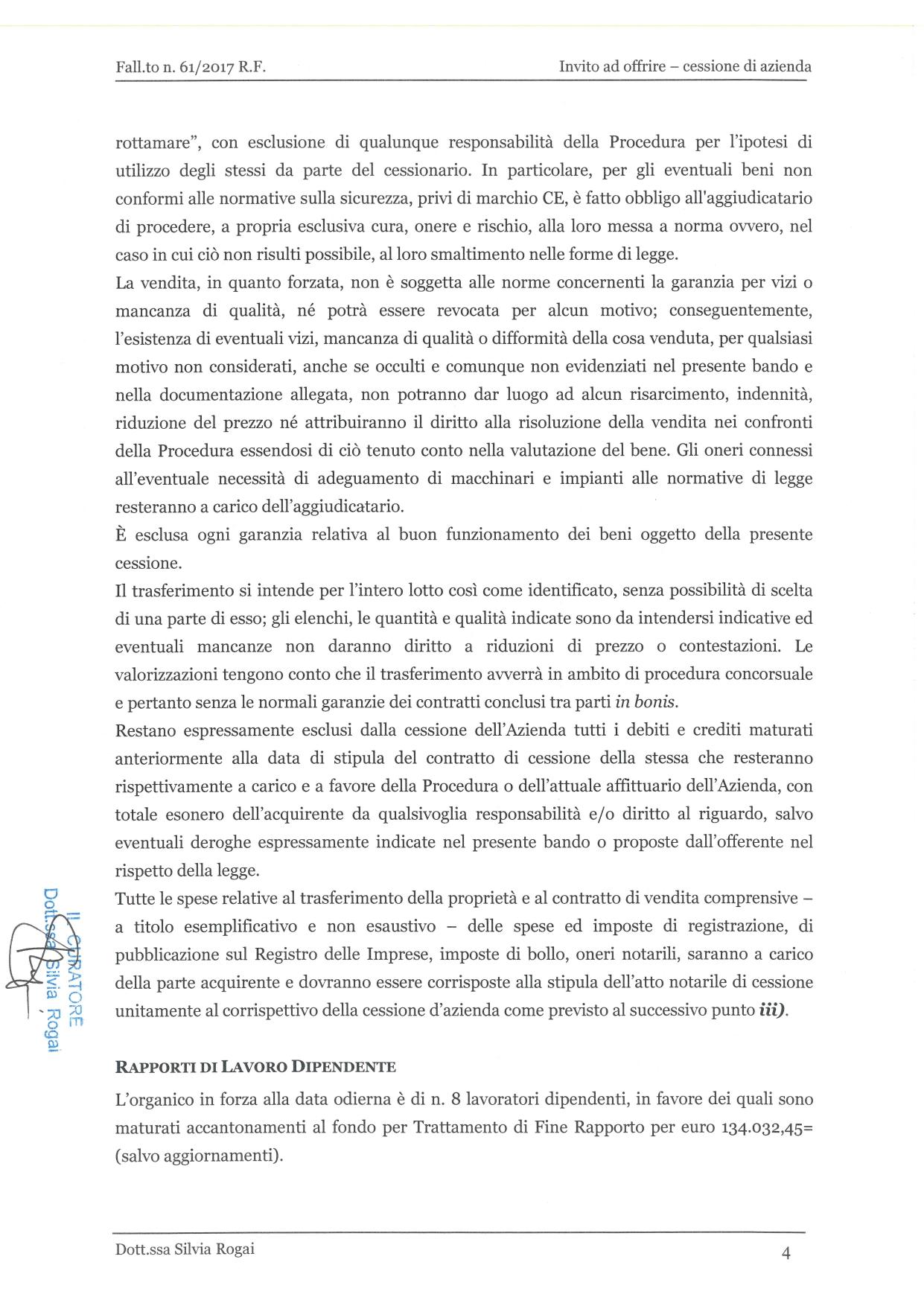 Fall. 61/2017 Trib. di Prato - Cessione azienda operat in vendita - foto 4