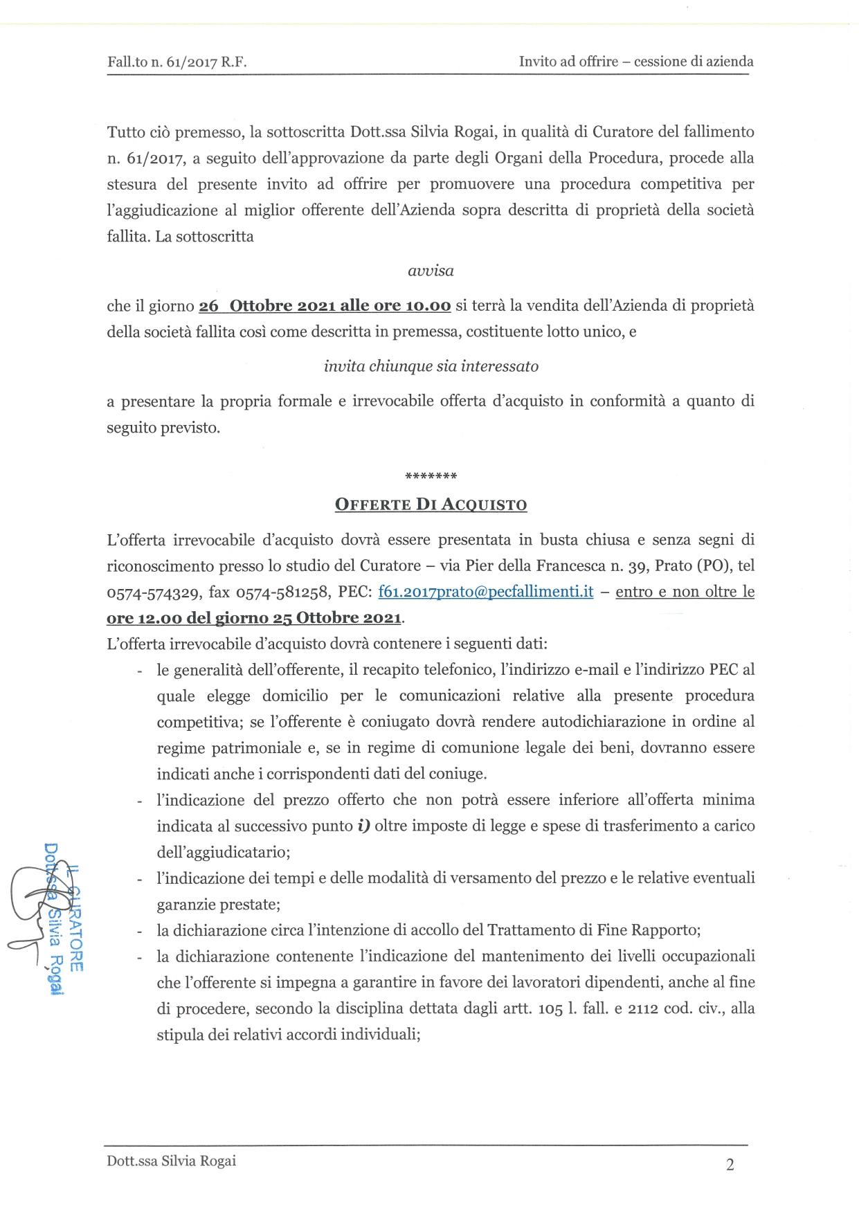 Fall. 61/2017 Trib. di Prato - Cessione azienda operat in vendita - foto 2